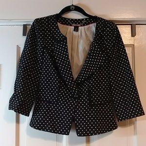 WHBM VGUC Black/White Polka Dot Blazer Size 6